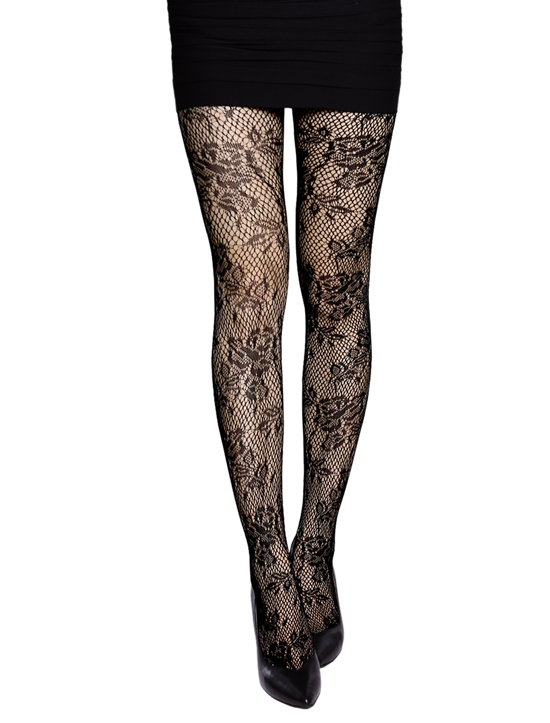 Women Floral Design Sexy Stretchy Footed Fishnet Tights Black XS