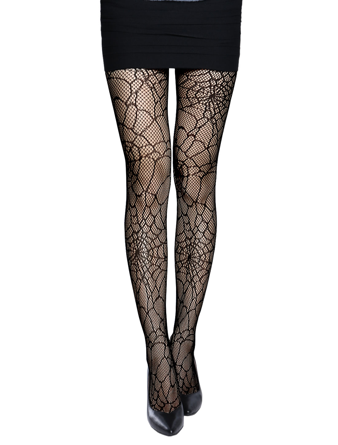 Women Stretchy Spider Web Design Seamless Sexy Fishnet Pantyhose Black XS