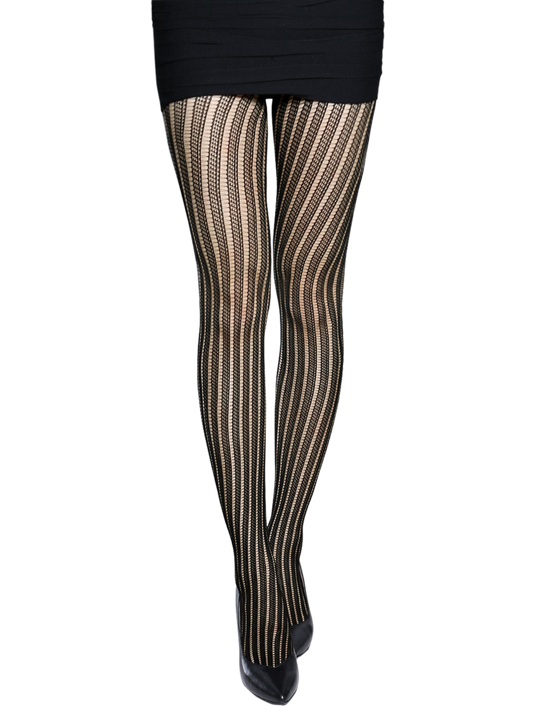 Women Stripes Design Stretchy Seamless Sexy Fishnet Pantyhose Black XS