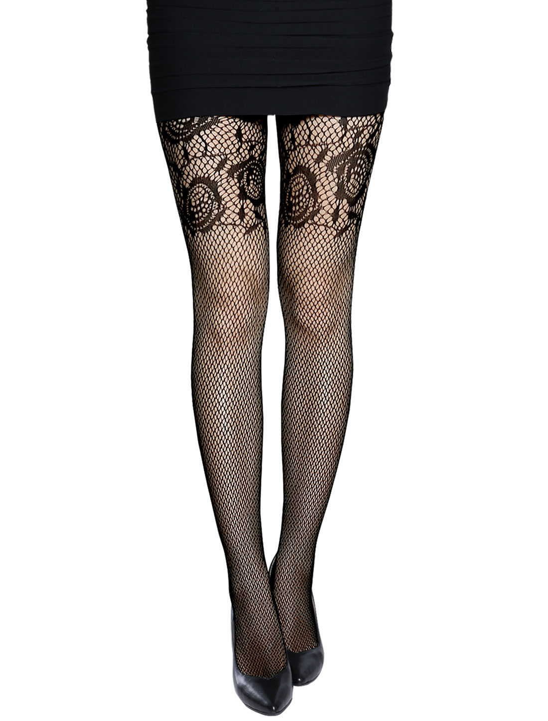Women Rose Flower Design Seamless Sexy Fishnet Pantyhose Black XS
