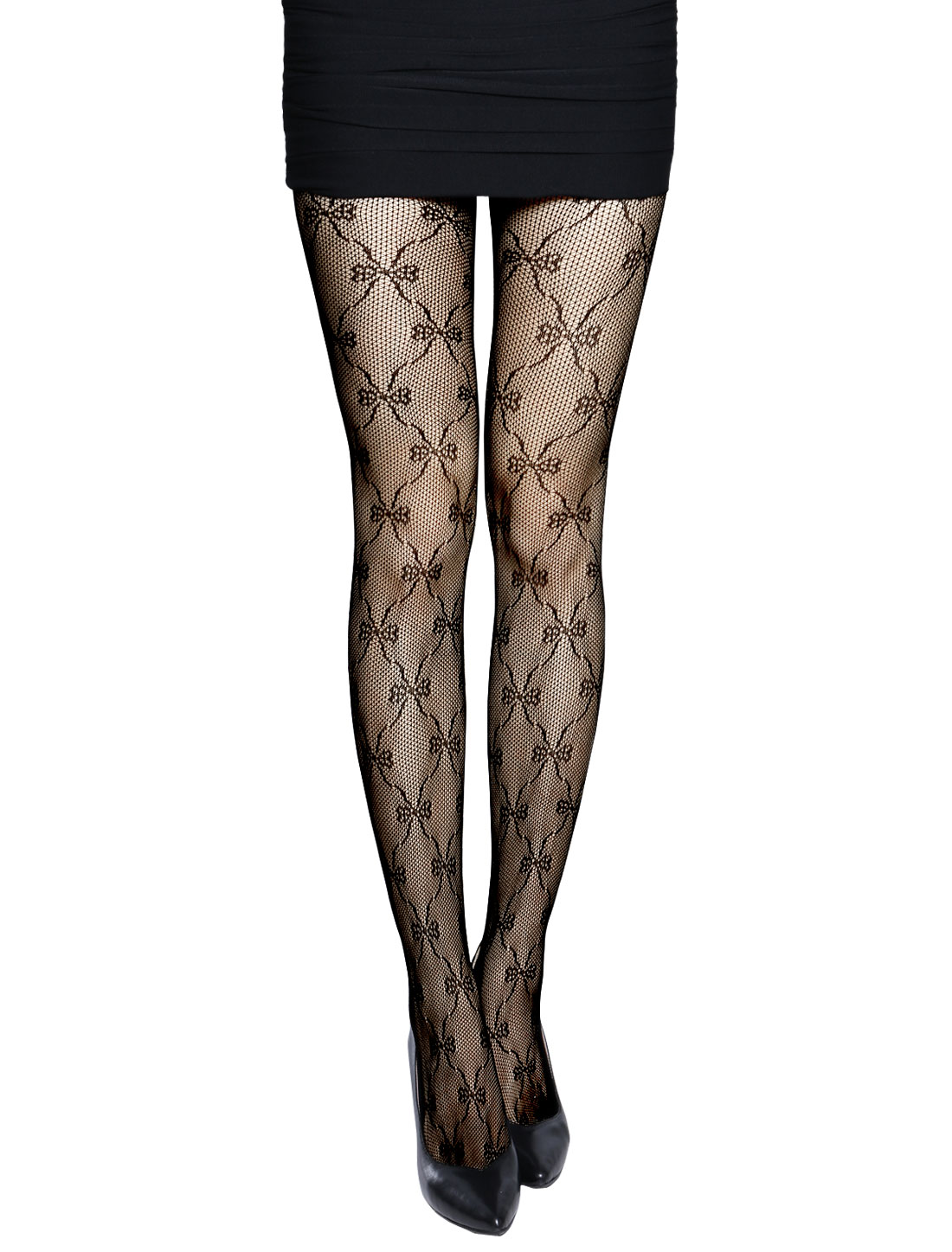 Women Bowknot Design Footed Sexy Fishnet Pantyhose Black XS