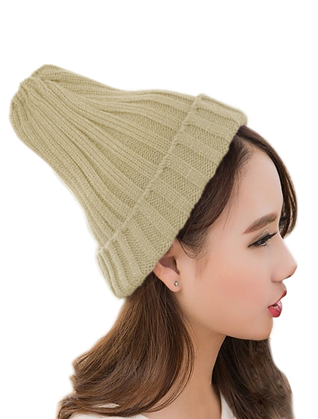 Unisex Knitted Cuffed Stretchy Ribbed Chunky Slouchy Casual Beanie Hat Beige