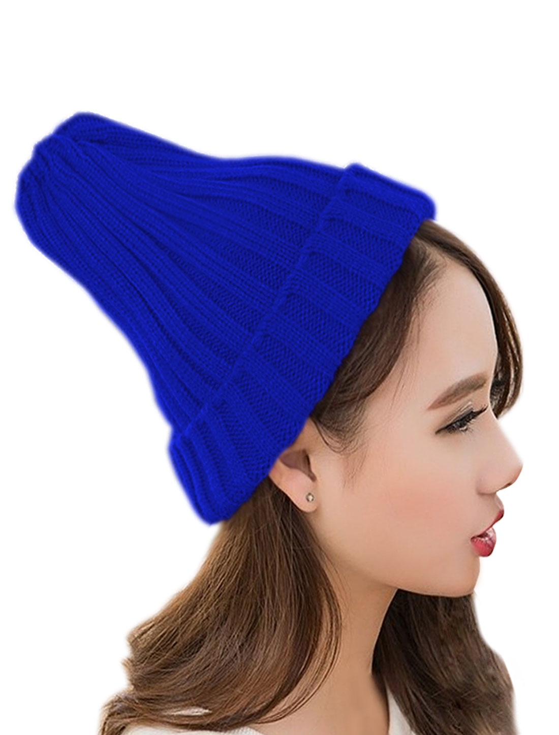 Unisex Stretch Ribbed Knitted Chunky Slouchy Leisure Beanie Cap Blue
