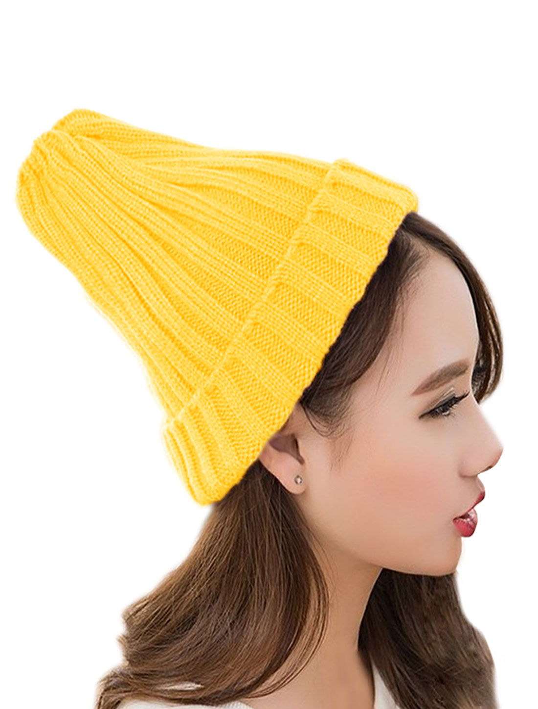 Unisex Ribbed Slouchy Casual Stretchy Knitted Cuffed Skull Cap Yellow