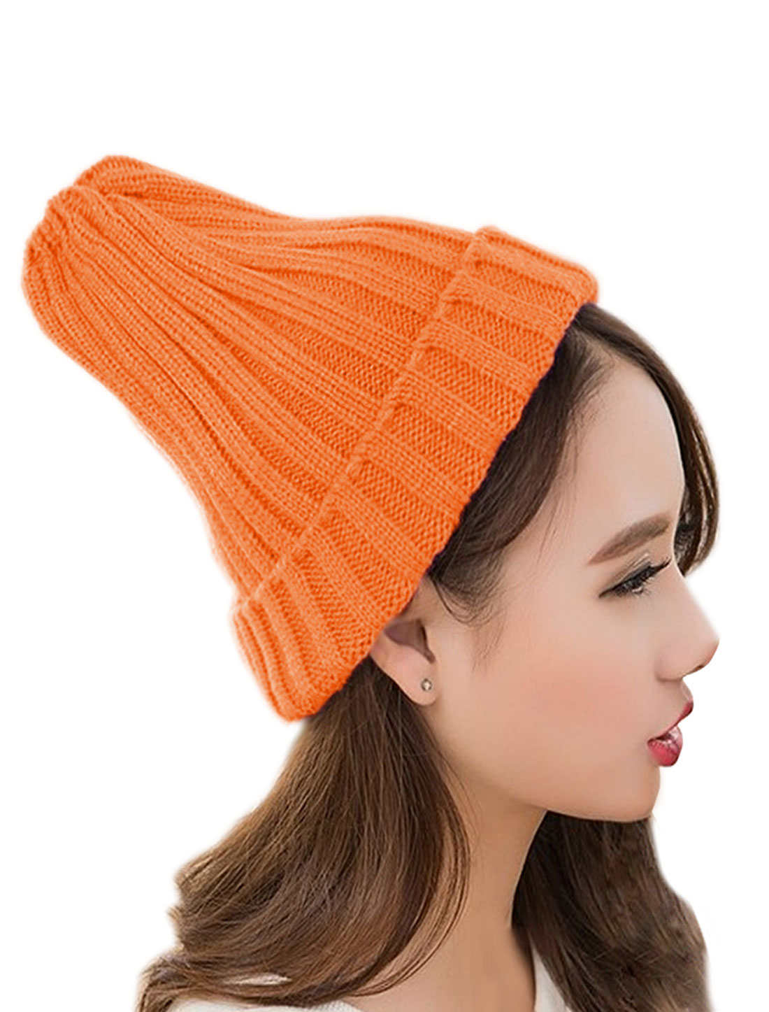 Unisex Casual Stretchy Chunky Slouchy Ribbed Cuffed Beanies Style Hat Orange