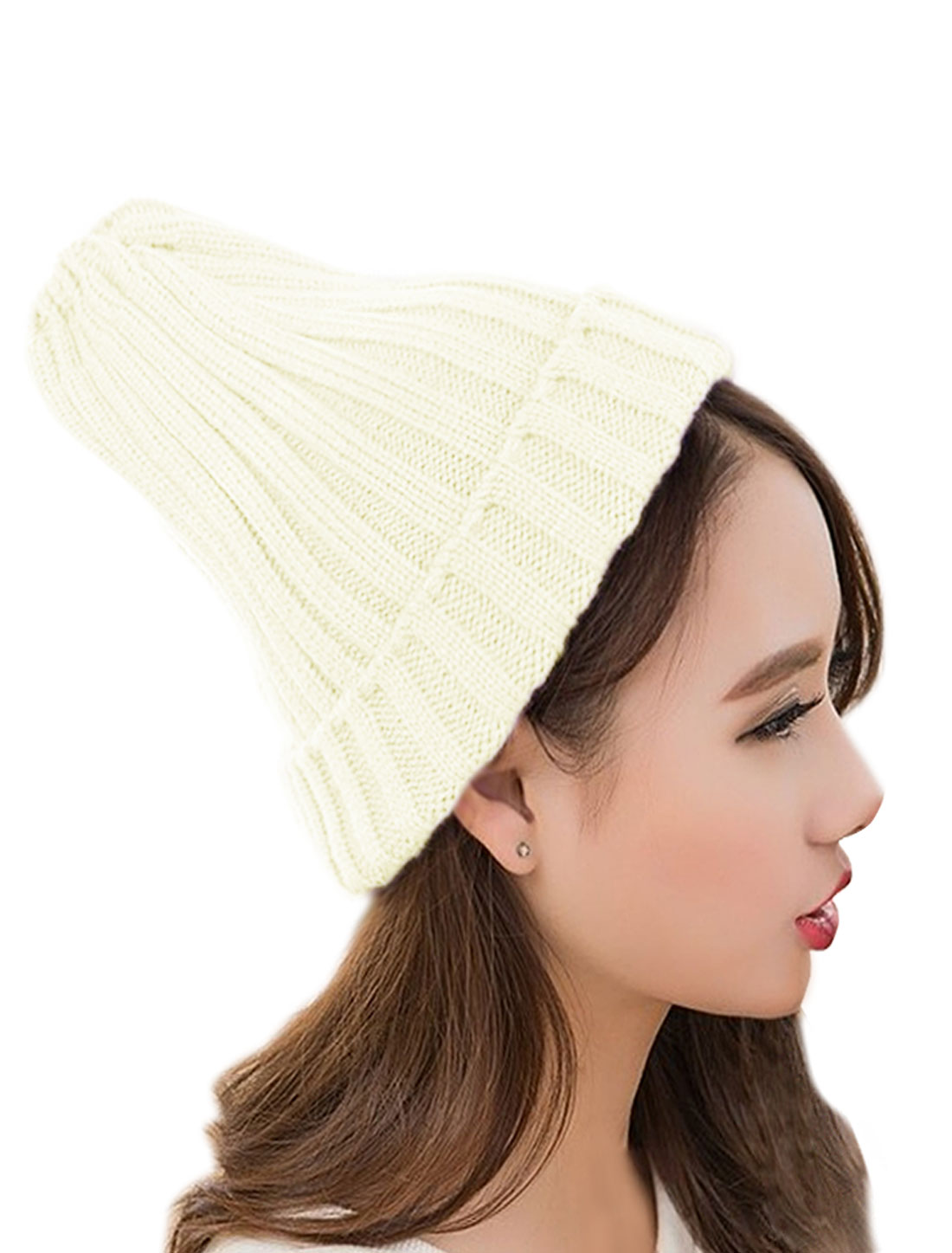 Unisex Chunky Casual Slouchy Ribbed Cuffed Knitted Headwear Hat White