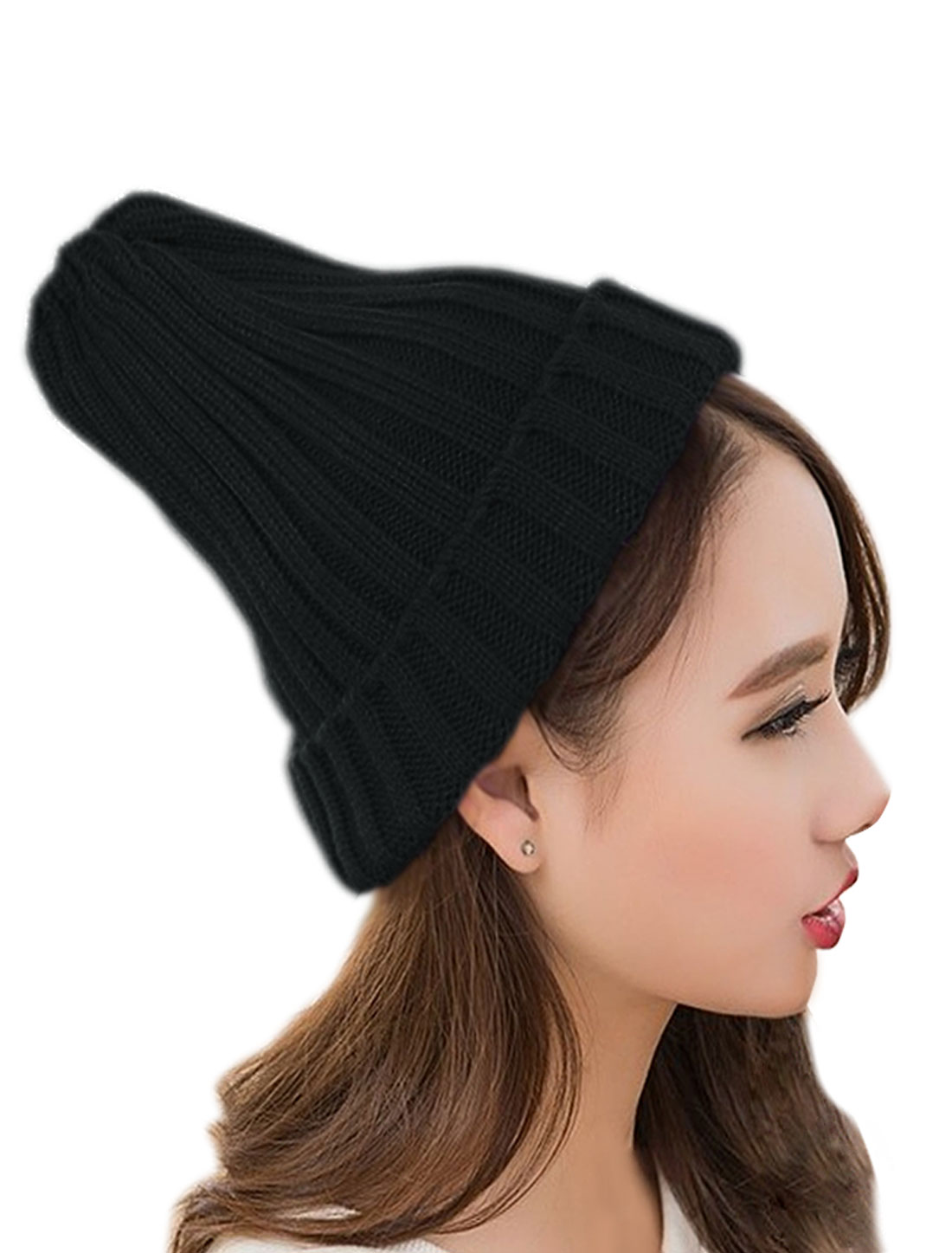Unisex Stretchy Chunky Ribbed Cuffed Slouch Casual Knitting Beanie Black