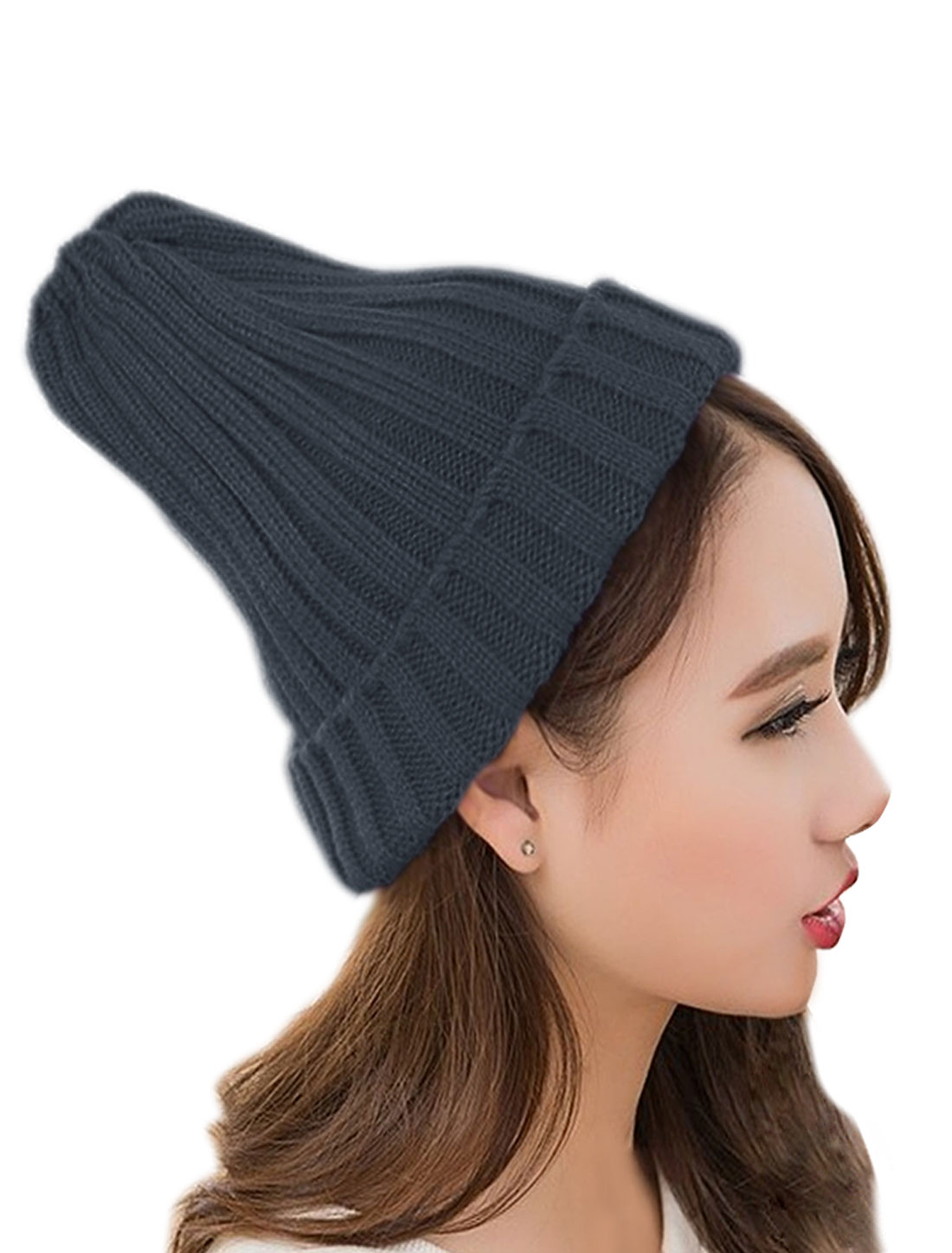 Unisex Ribbed Chunky Stretchy Casual Cuffed Slouchy Knit Ball Cap Gray
