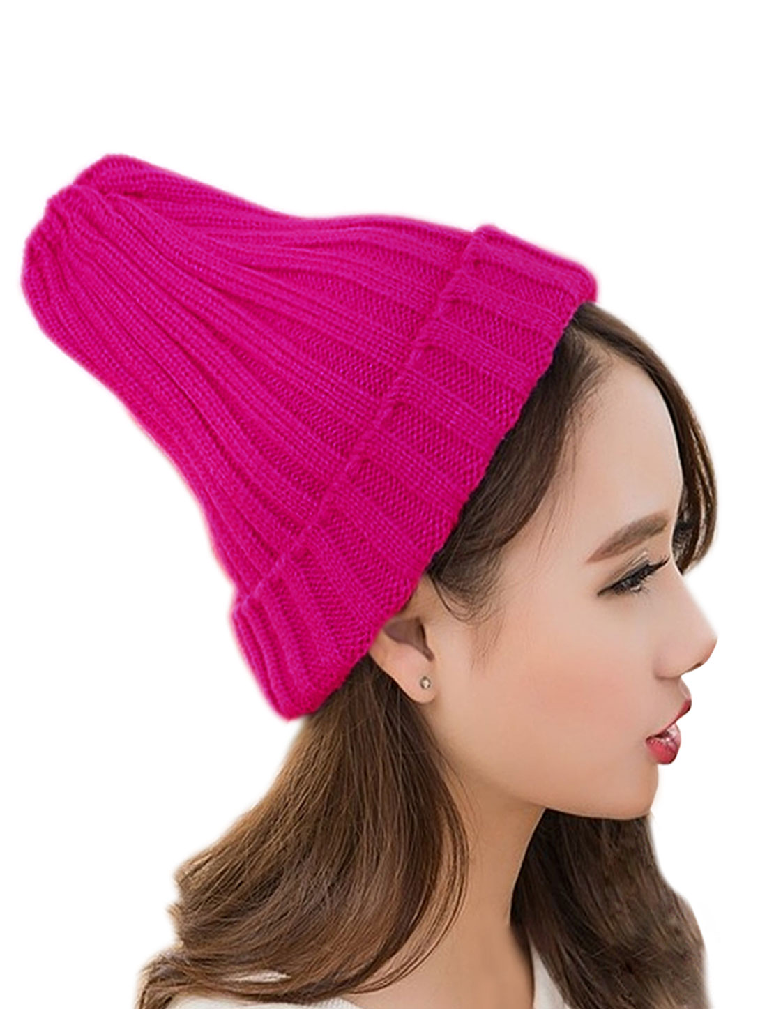 Unisex Knitted Elastic Ribbed Chunky Slouchy Cuffed Beanie Hat Pink