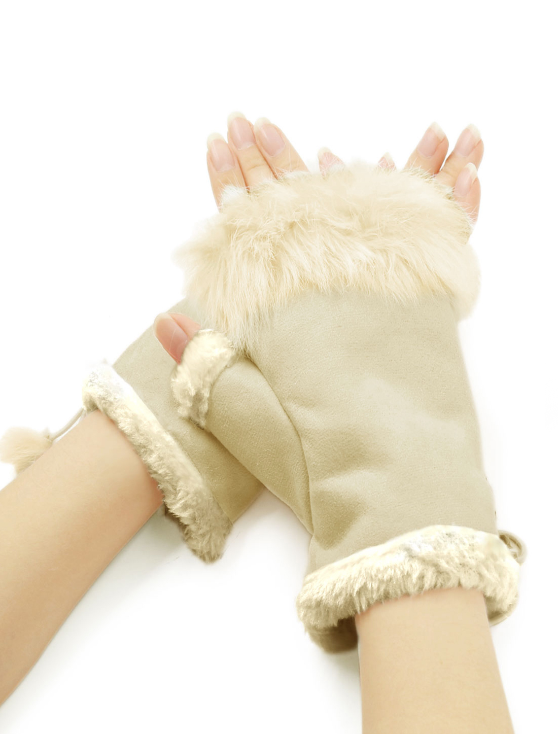 Women Plush Trim Adjustable String Warm Fingerless Gloves Beige