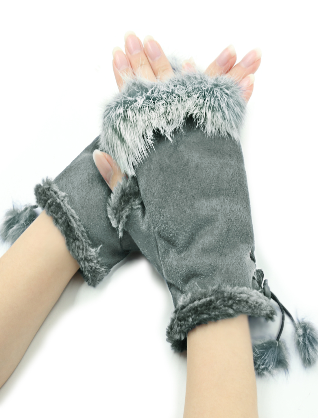 Women Plush Hem Adjustable String Computer Fingerless Gloves Gray