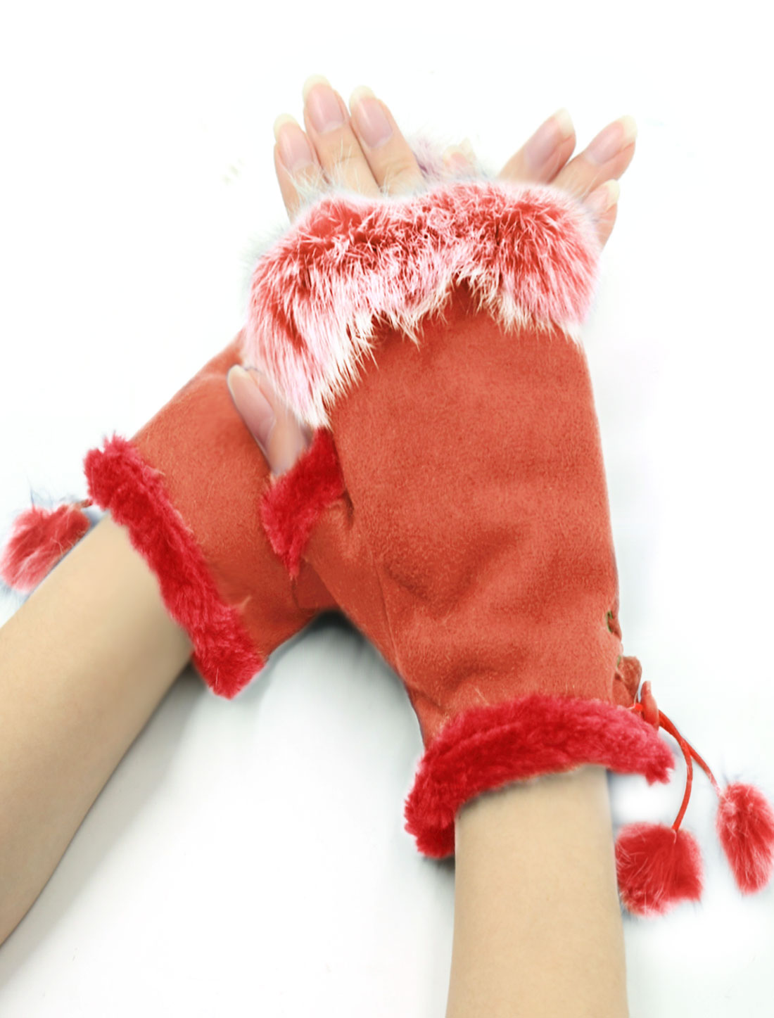 Women Plush Embellished Soft Lining Winter Fingerless Gloves Orange
