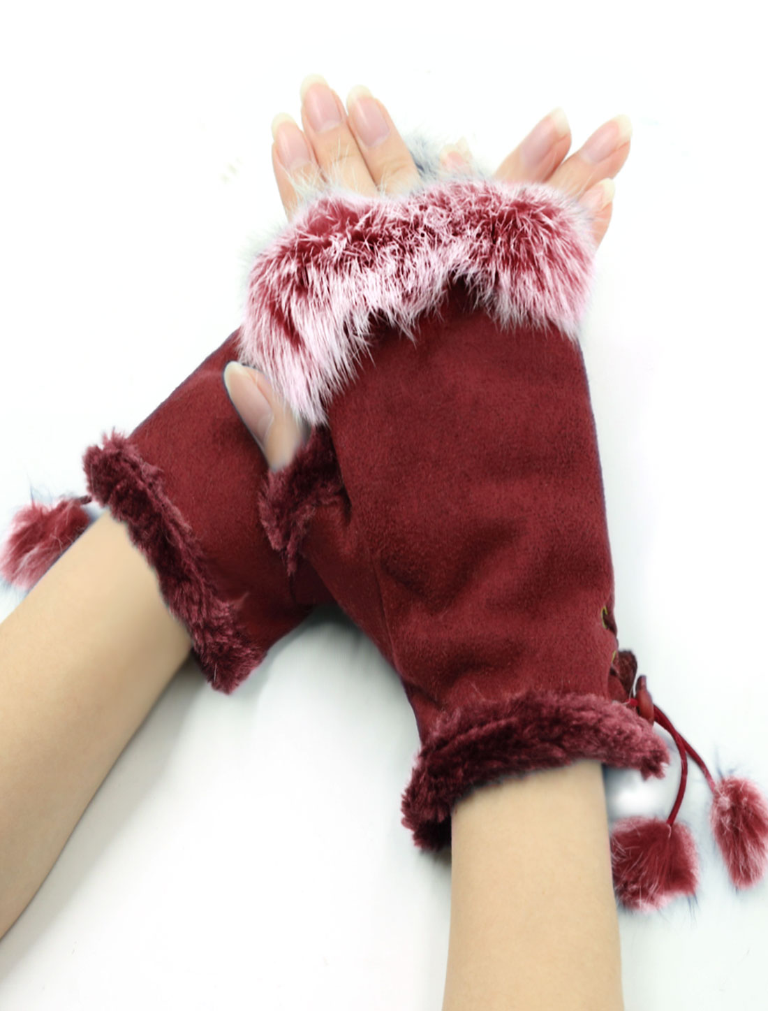 Women Drawcord Stopper Design Plush Decor Fingerless Gloves Burgundy