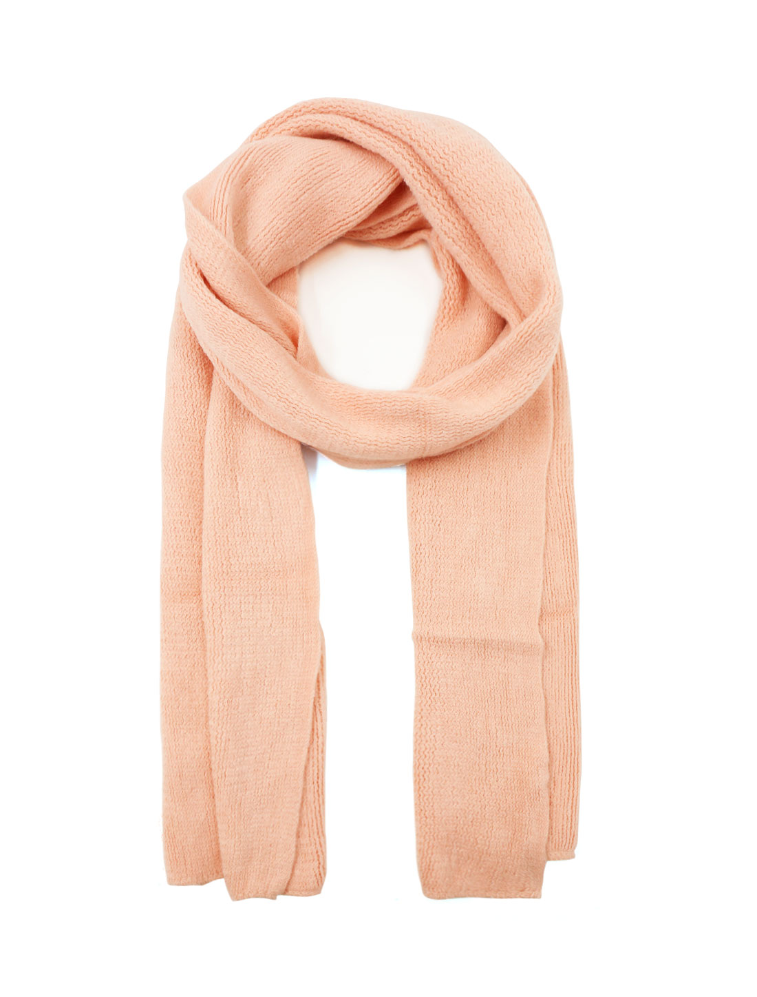 Unisex Rectangle Shape Winter Warm Long Knitted Scarf Salmon