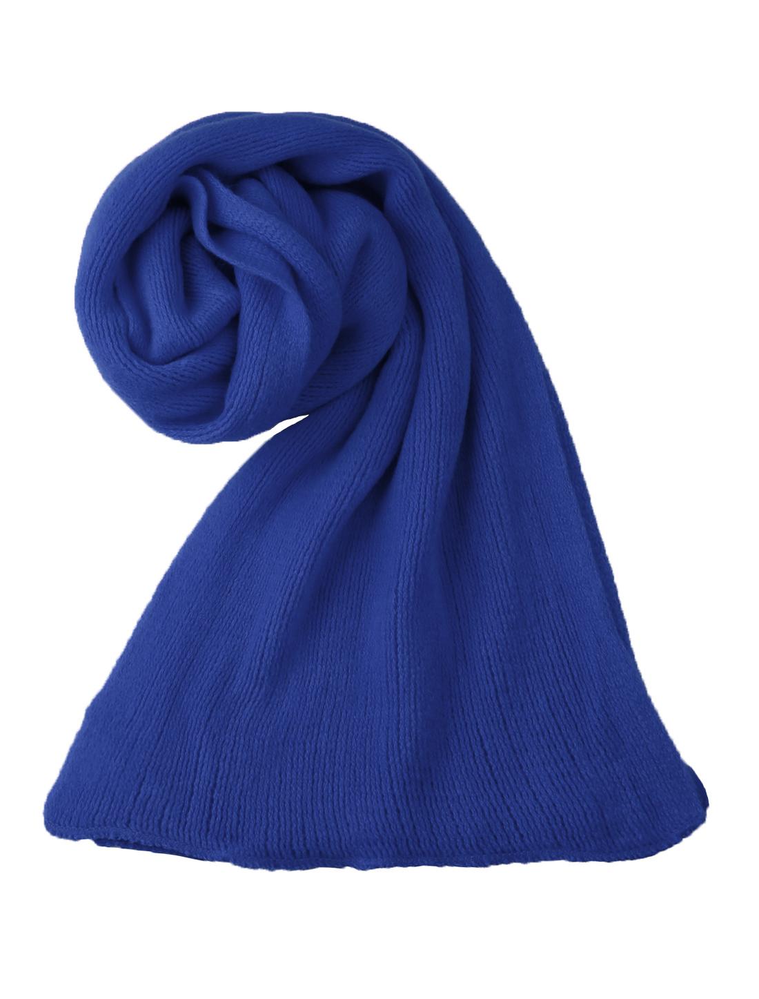Unisex Rectangle Shape Design Soft Long Knit Scarf Blue