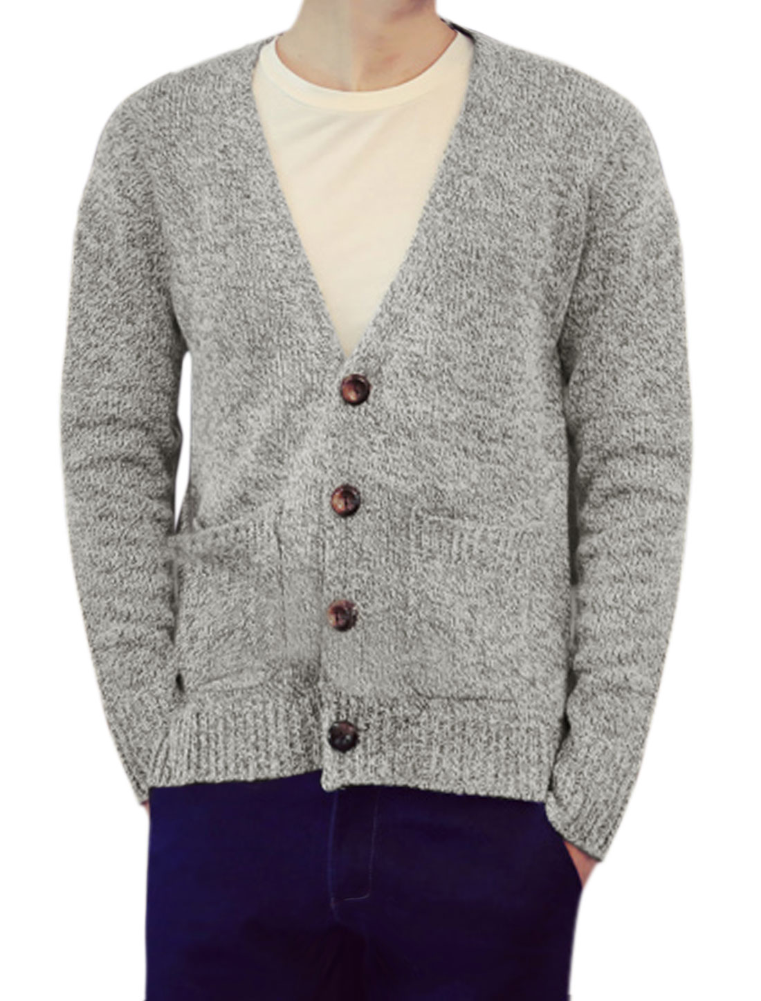 Men Deep V Neck Button Closure High Low Hem Sweater Cardigan Light Gray M