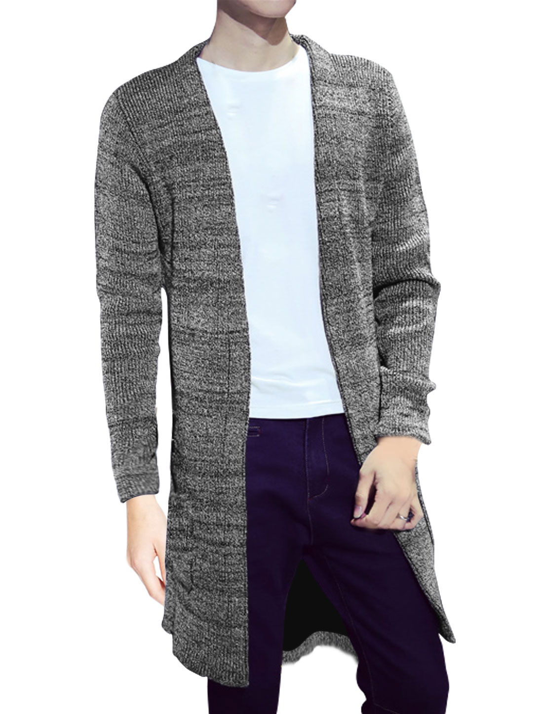 Men Long Sleeves Two Pockets Front Opening Sweater Cardigan Gray M