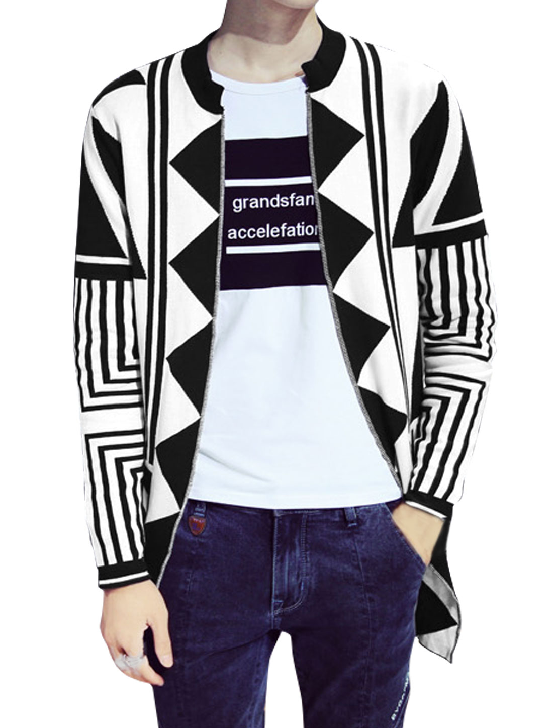 Men Stripes Geometric Pattern Tunic Sweater Cardigan White M
