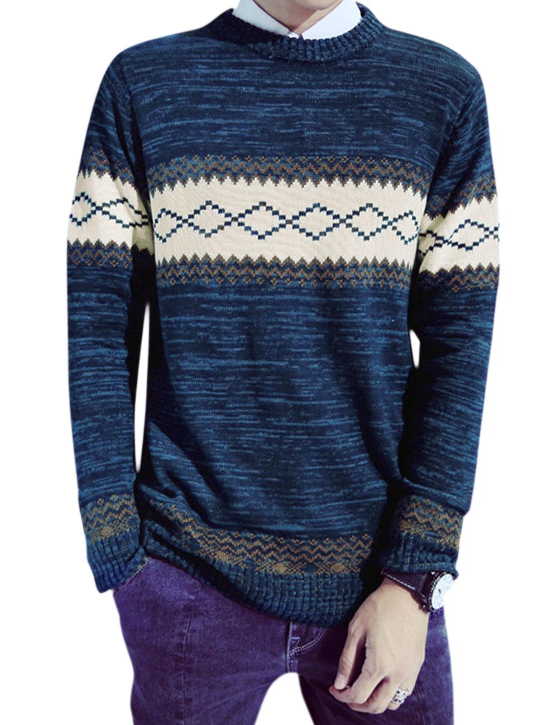 Men Crew Neck Geometric Pattern Slim Fit Knit Shirt Blue M