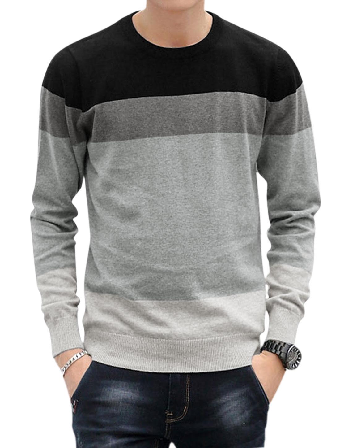 Men Crew Neckline Pullover Color Block Knit Shirt Black M