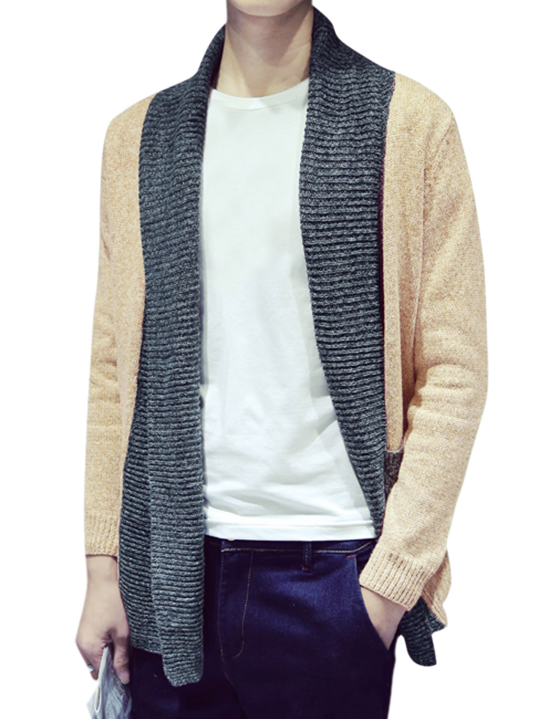 Men Turn Down Collar Front Opening Contrast Color Sweater Cardigan Beige M