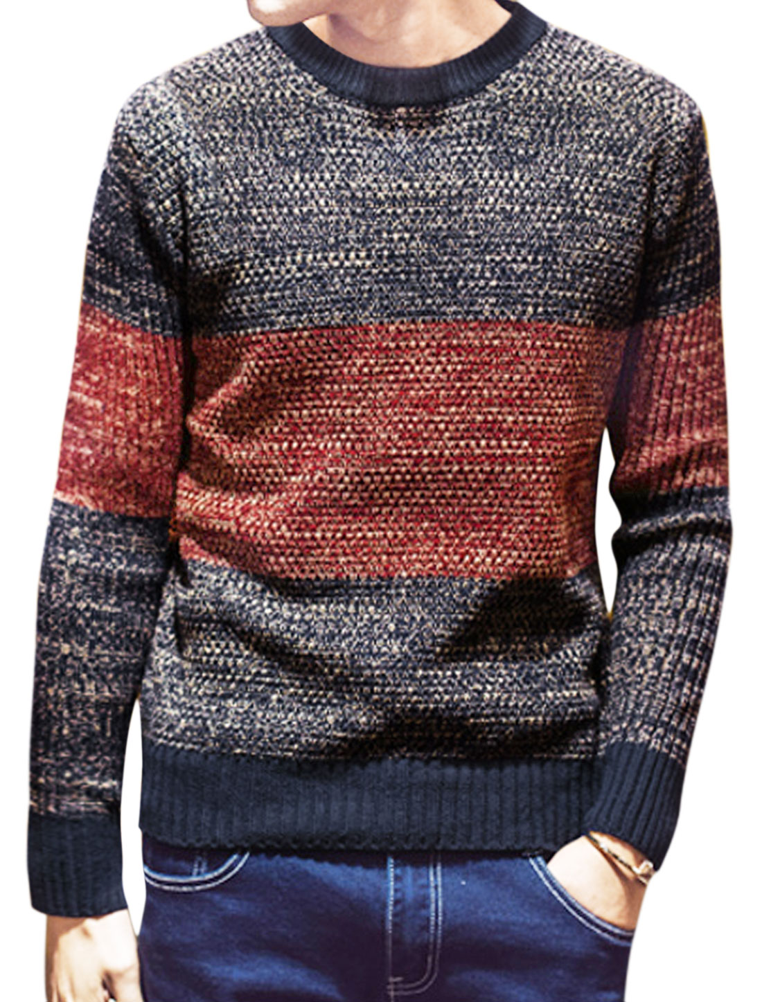 Men Crew Neck Long Sleeves Color Block Pullover Sweater Blue Red S