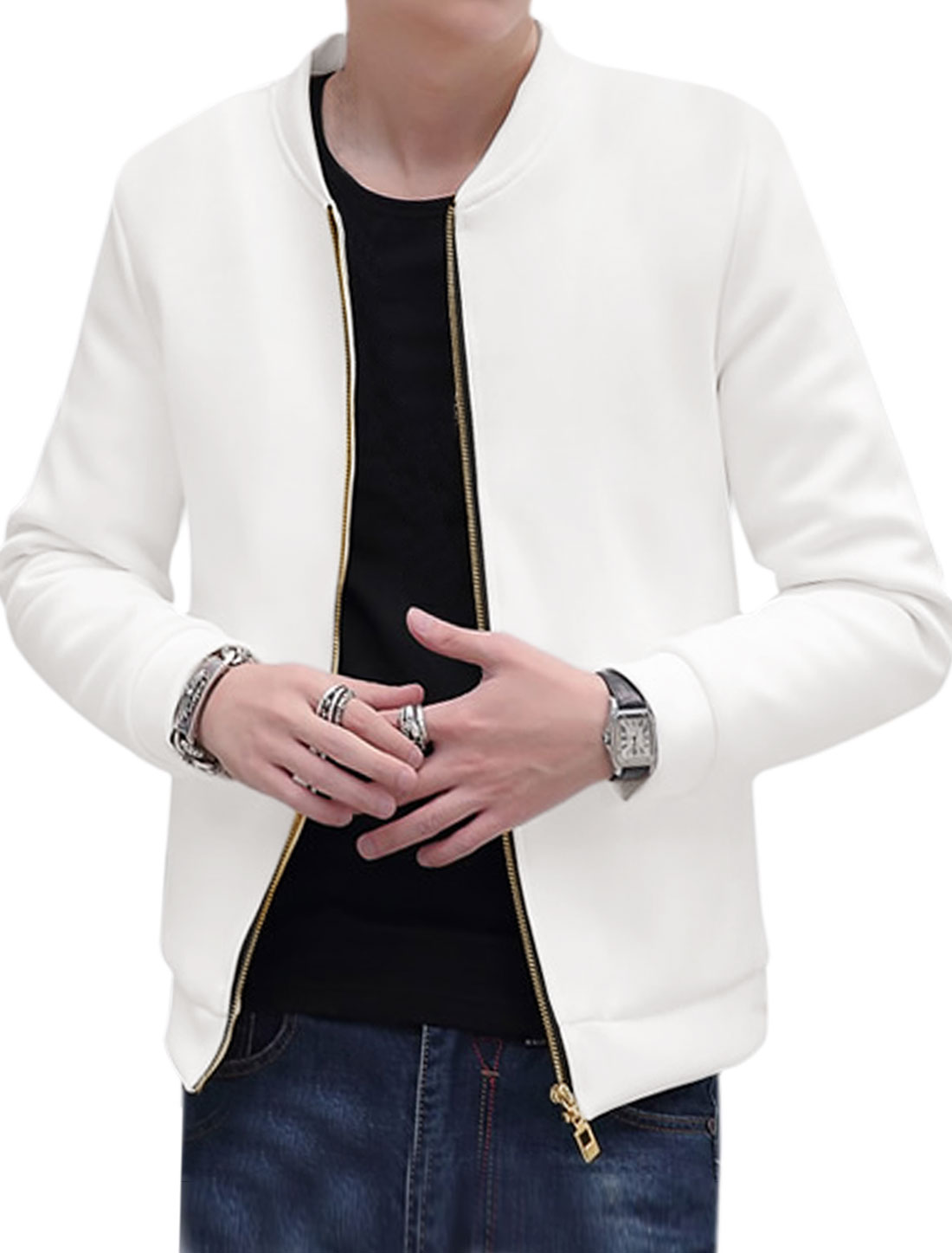 Men Stand Collar Slim Fit Quilted Zip Jacket White M