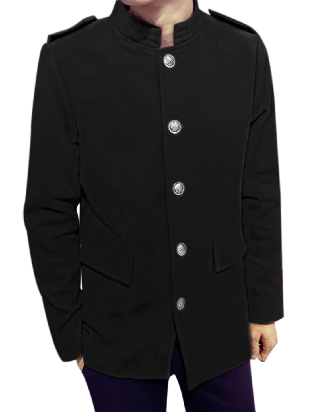 Men Two Flap Pockets Stand Collar Button Front Slim Fit Worsted Coat Black M