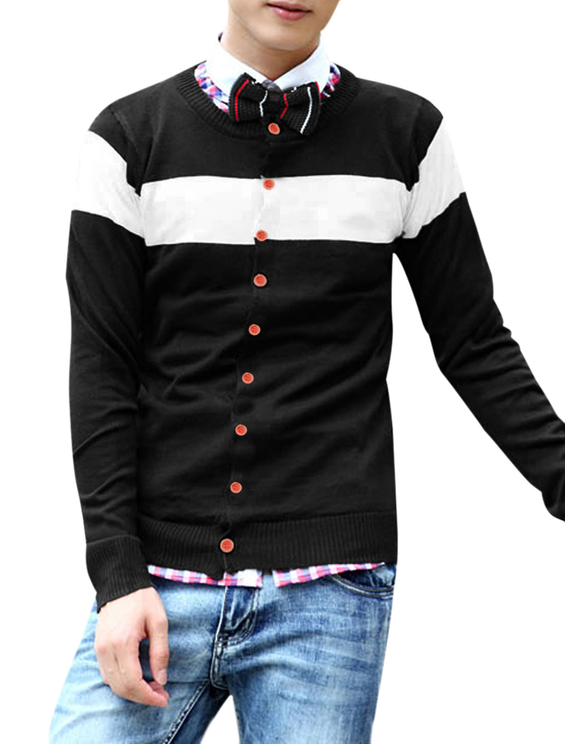 Men Round Neck Color Block Slim Fit Long-sleeved Knitted Cardigan Black M