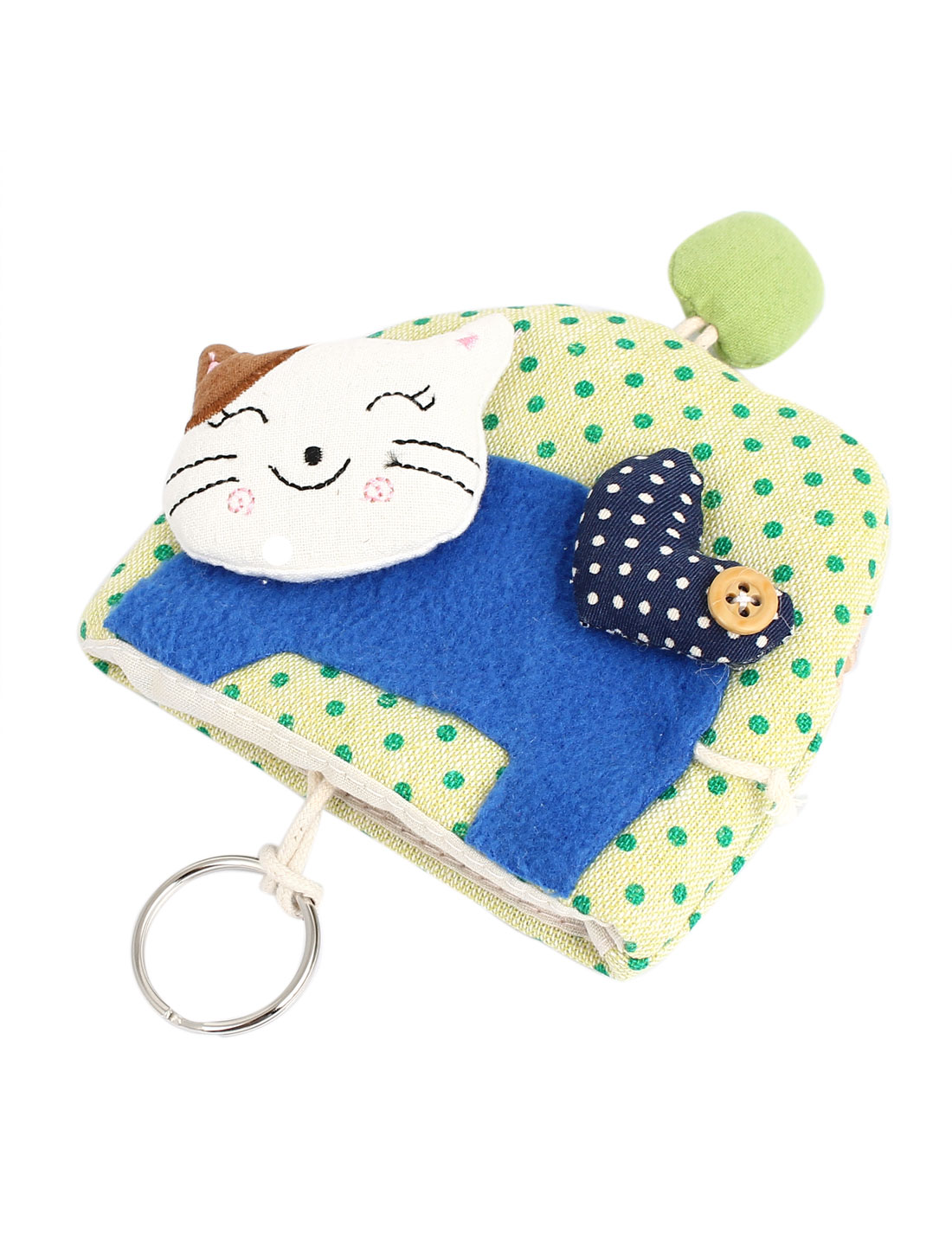 Lady Split Ring Strap Dot Pattern Cloth Cat Decor Zip Up Coin Key Purse Bag Wallet Pouch Green