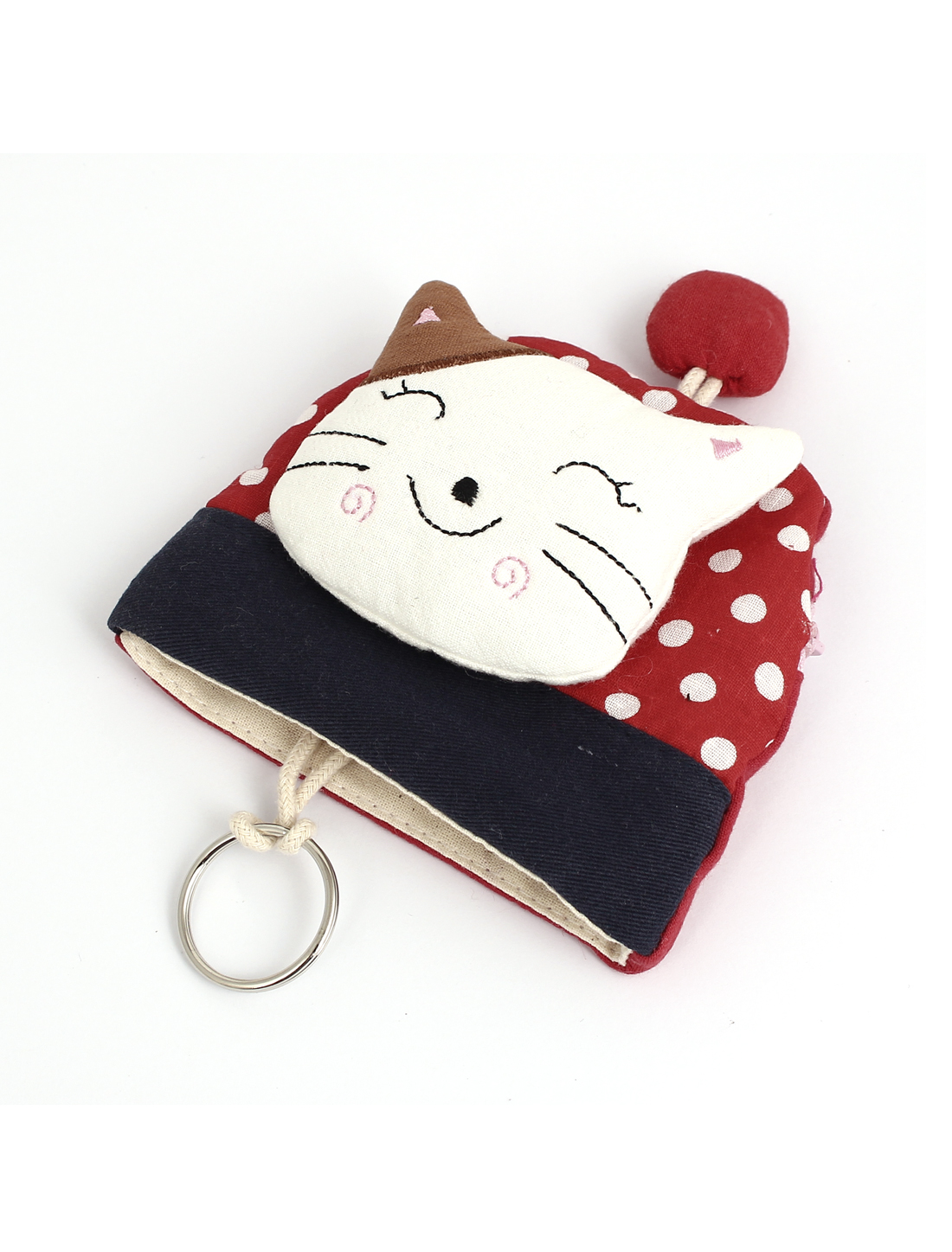 Women Split Ring Strap Cloth Cat Face Decor Zip Up Coin Key Purse Bag Wallet Pouch Red