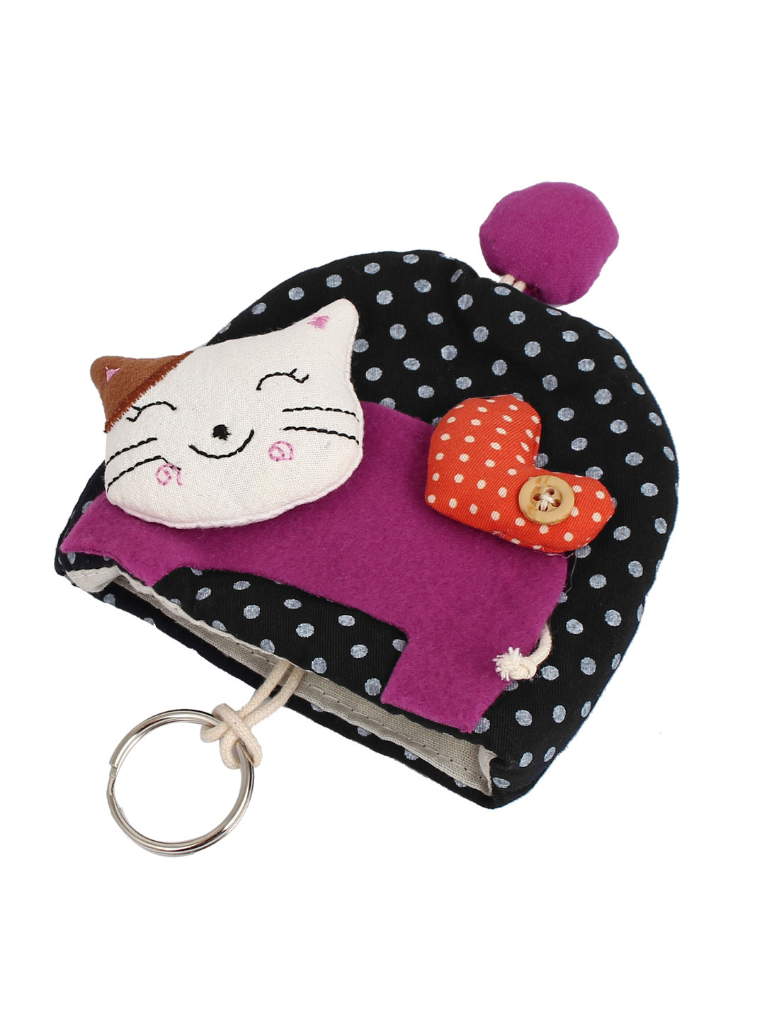 Lady Split Ring Strap Dot Pattern Cloth Cat Decor Zip Up Coin Key Purse Bag Wallet Pouch Dark Blue