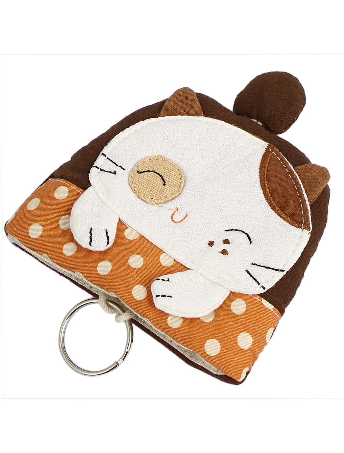 Lady Split Ring Strap Blink Cat Pattern Zip Up Coin Key Purse Bag Wallet Pouch Coffee Color