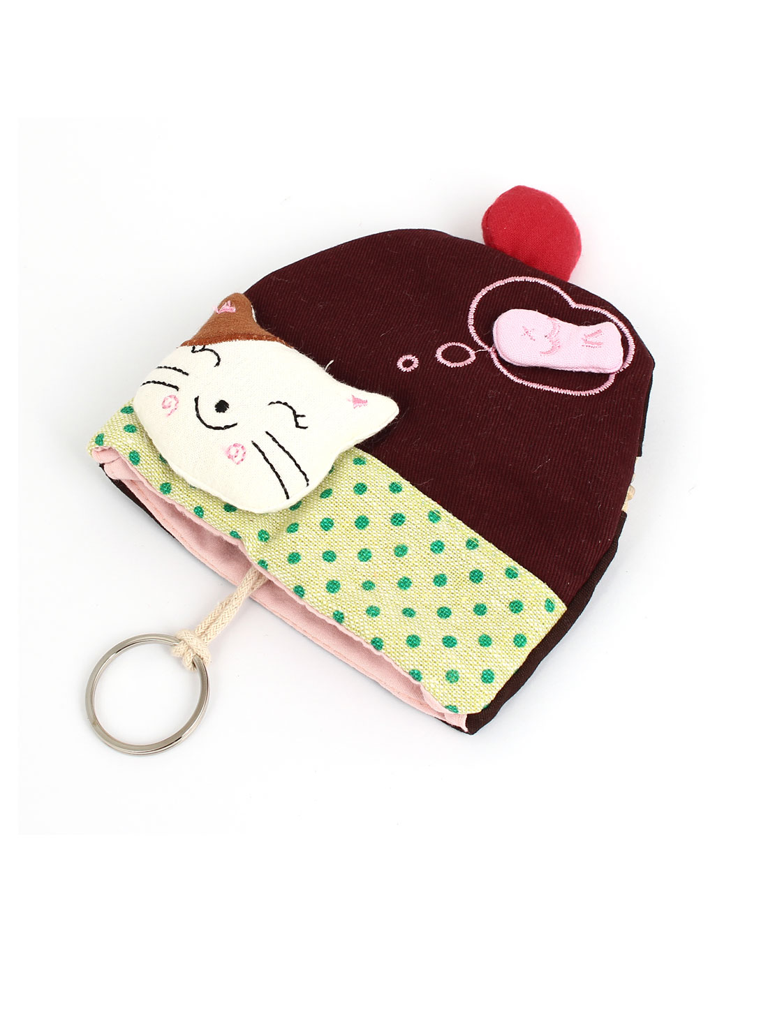 Lady Split Ring Strap Cloth Cat Face Decor Zip Up Coin Key Purse Bag Wallet Pouch Coffee Color