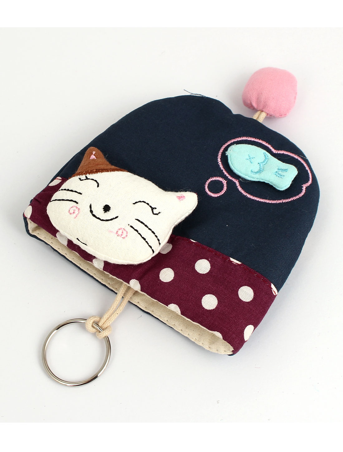 Lady Split Ring Strap Cloth Smile Cat Decor Zip Up Coin Key Purse Bag Wallet Pouch Dark Blue