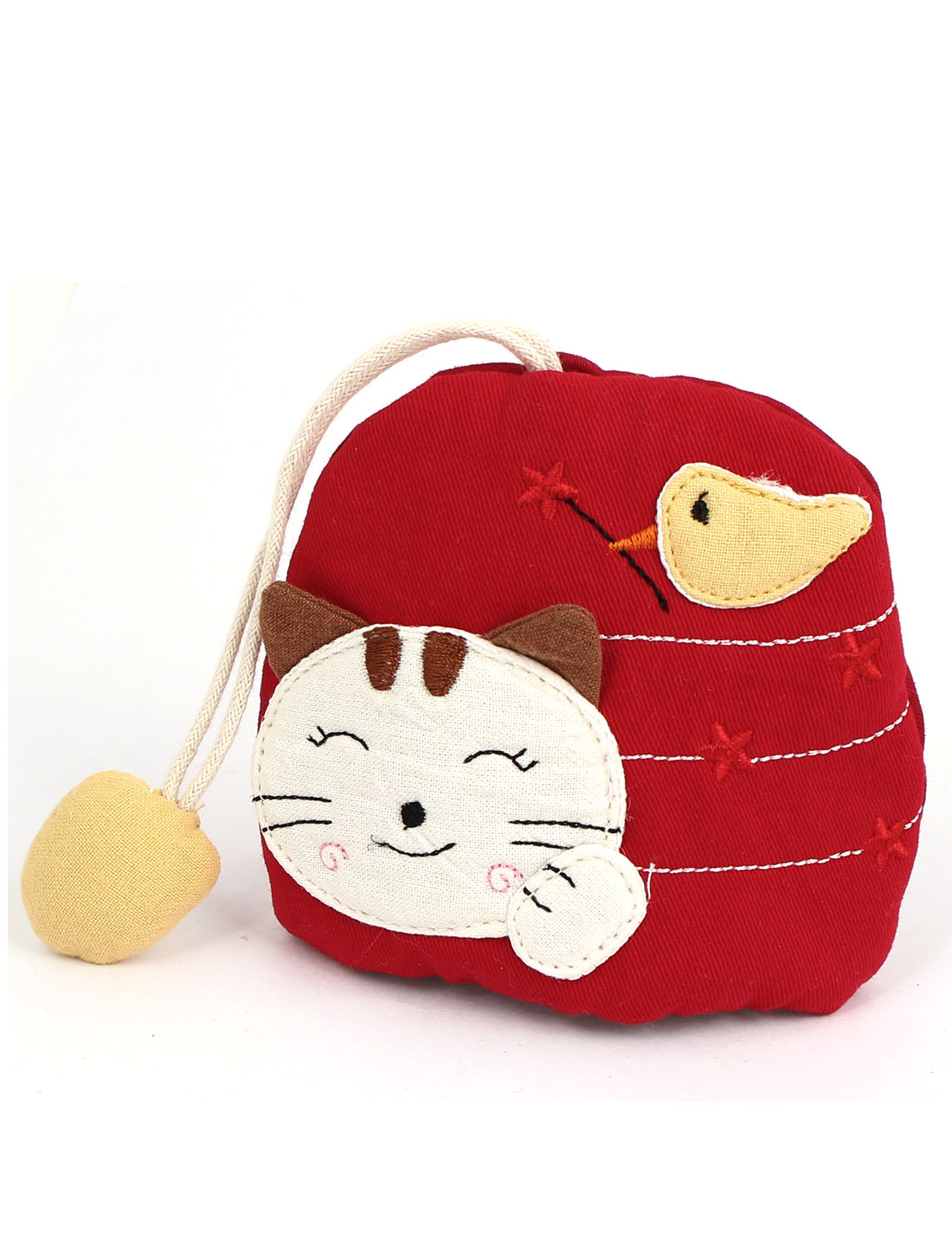 Women Split Ring Strap Smile Cat Pattern Zip Up Coin Key Purse Bag Wallet Pouch Red
