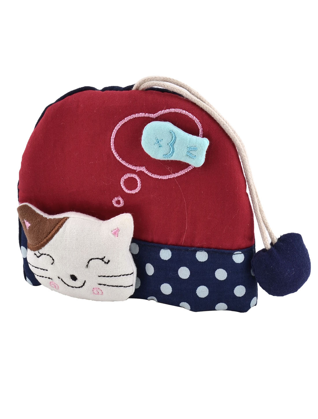 Lady Split Ring Strap Cloth Cat Face Decor Zip Up Coin Key Purse Bag Wallet Pouch Red