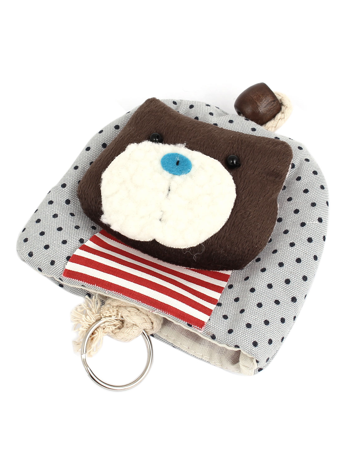 Women Split Ring Strap Dot Pattern Cat Decor Zip Up Coin Key Purse Bag Wallet Pouch Gray