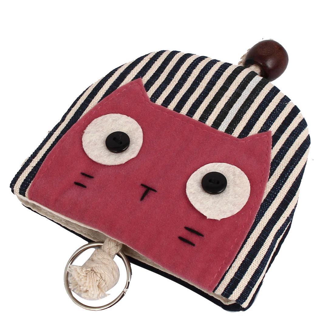 Women Split Ring Strap Stripe Pattern Cat Face Decor Zip Up Coin Key Purse Bag Wallet Pouch Dark Blue