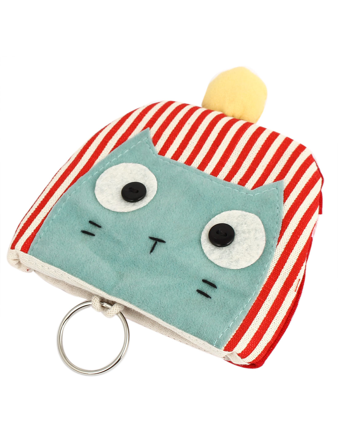 Women Split Ring Strap Stripe Pattern Cat Face Decor Zip Up Coin Key Purse Bag Wallet Pouch Red