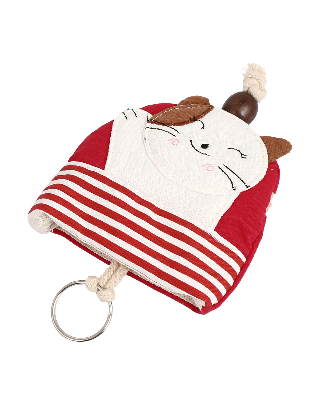 Lady Split Ring Strap Smile Cat Pattern Zip Up Coin Key Purse Bag Wallet Pouch Red