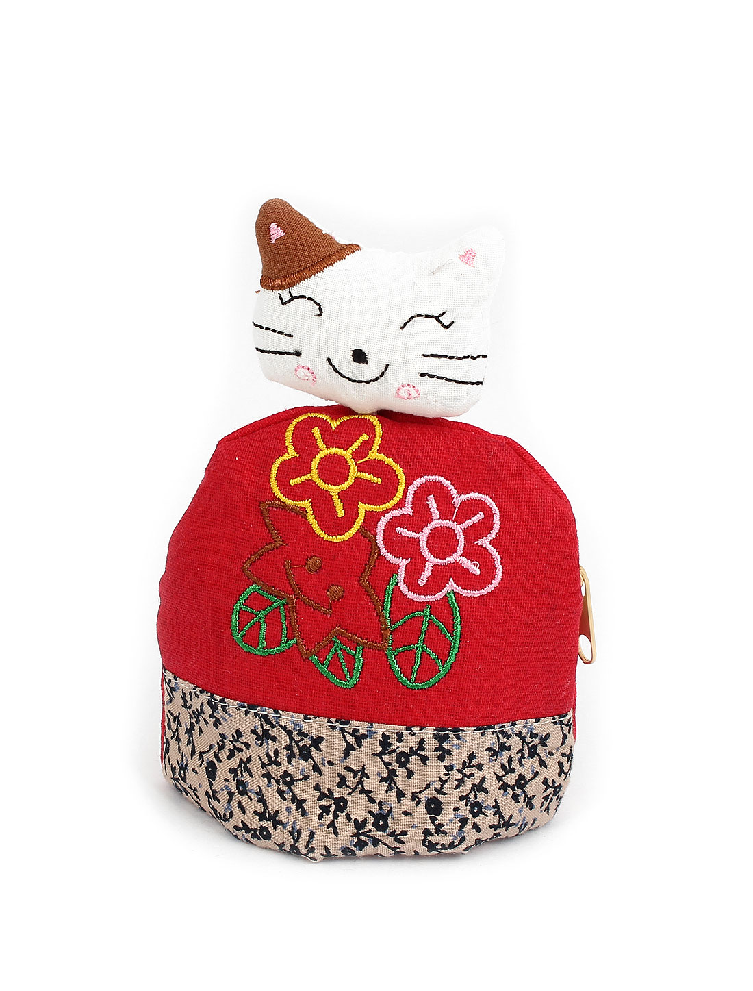Lady Split Ring Strap Flower Pattern Cloth Cat Face Pendant Zip Up Coin Key Purse Bag Wallet Pouch Red