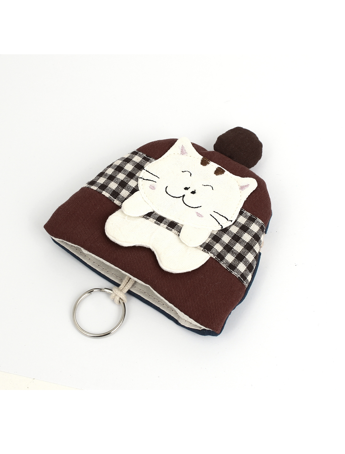 Women Split Ring Strap Plaid Pattern Cat Decor Zip Up Coin Key Purse Bag Wallet Pouch Red