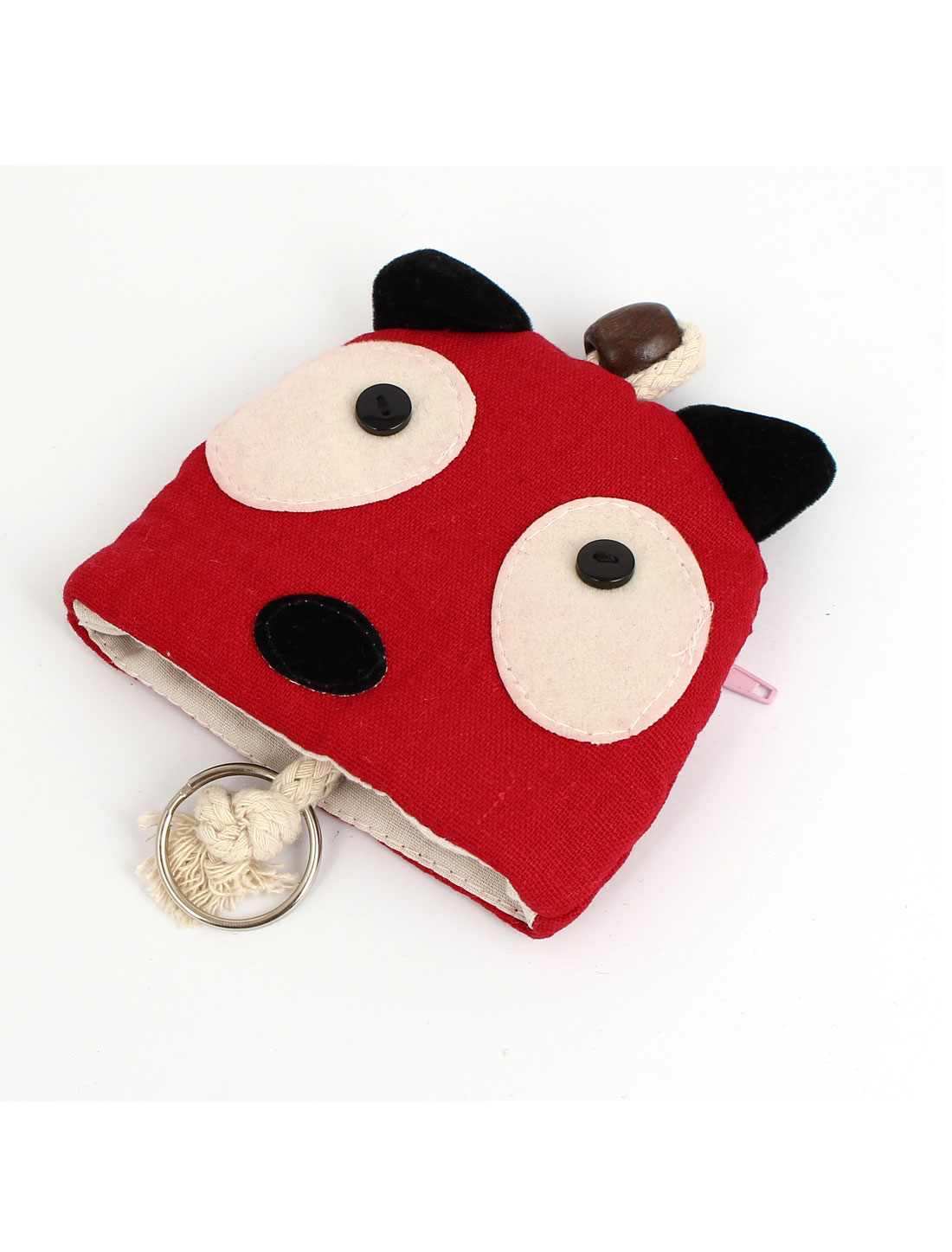 Lady Split Ring Strap Panda Face Pattern Zip Up Coin Key Purse Bag Wallet Pouch Red
