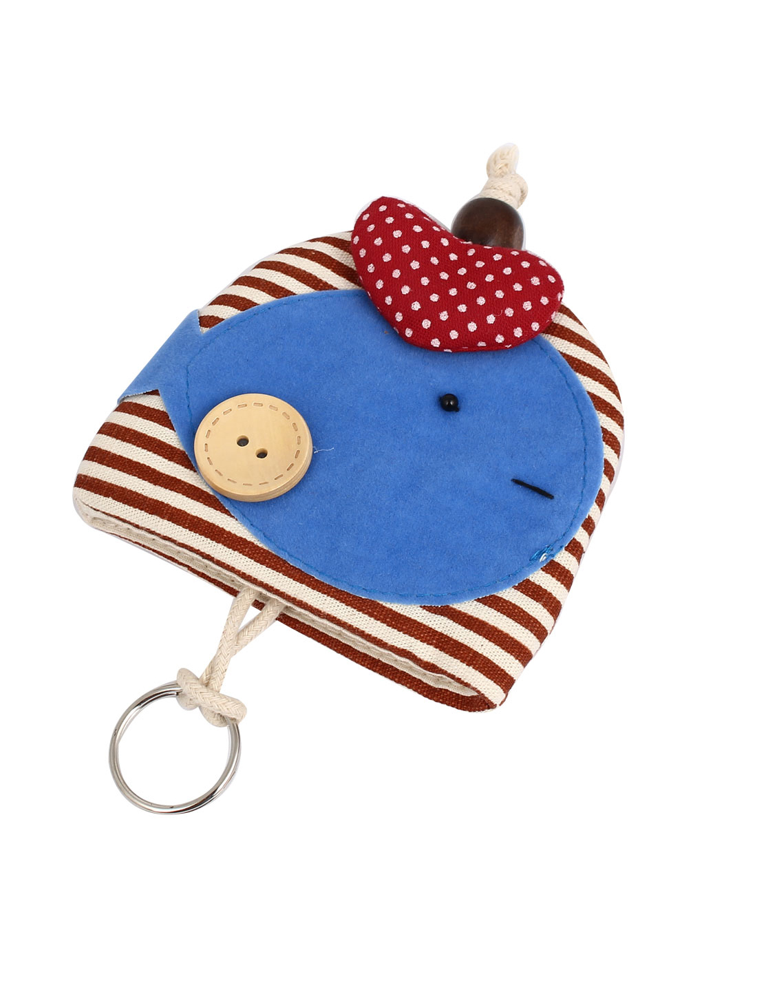 Lady Split Ring Strap Stripe Pattern Fish Decor Zip Up Coin Key Purse Bag Wallet Pouch