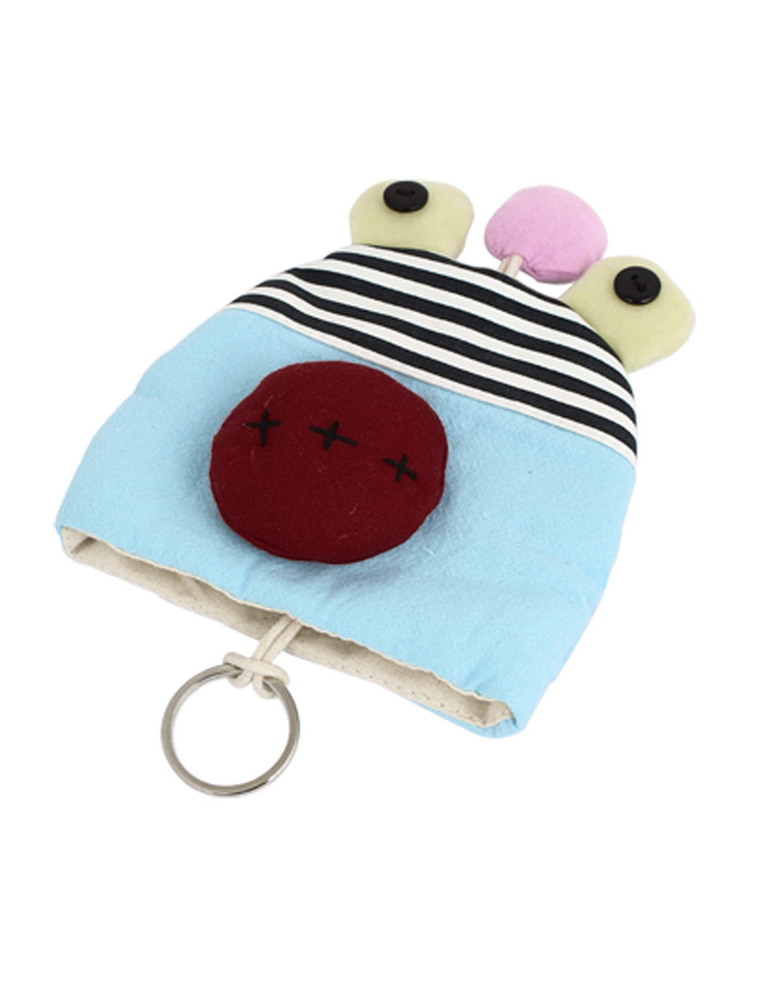 Lady Split Ring Strap Cartoon Animal Pattern Zip Up Coin Key Purse Bag Wallet Pouch Light Blue