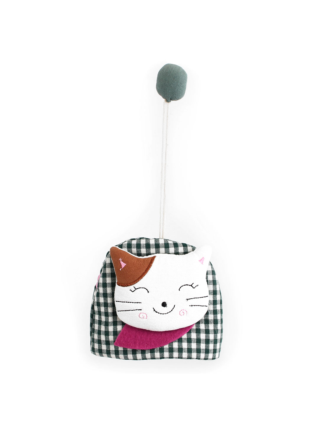 Lady Split Ring Strap Plaid Pattern Cloth Cat Face Decor Zip Up Coin Key Purse Bag Wallet Pouch Green
