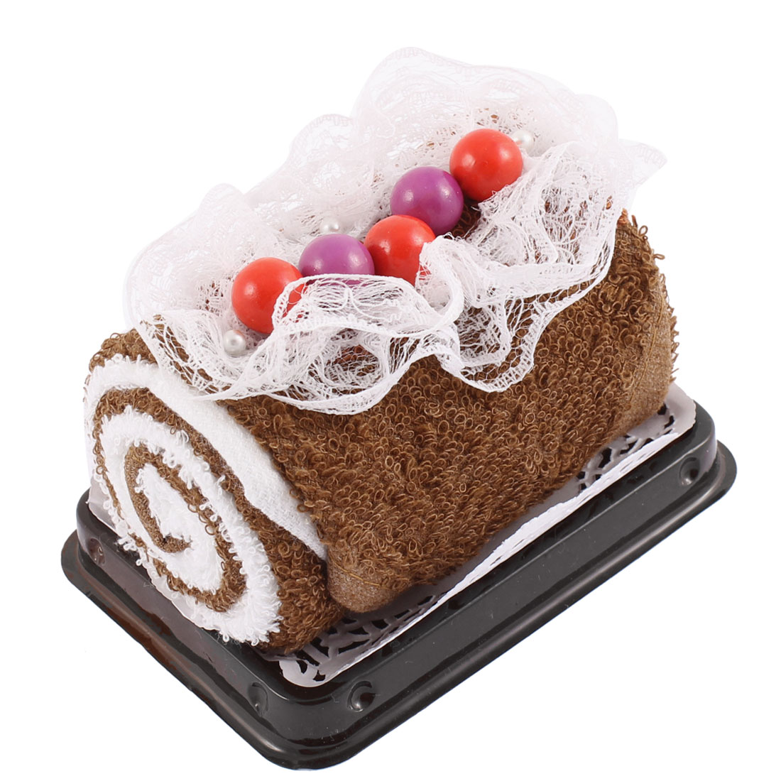 Roll Cake Design Bead Lace Decor Wedding Party Gift Washcloth Hand Towel Brown