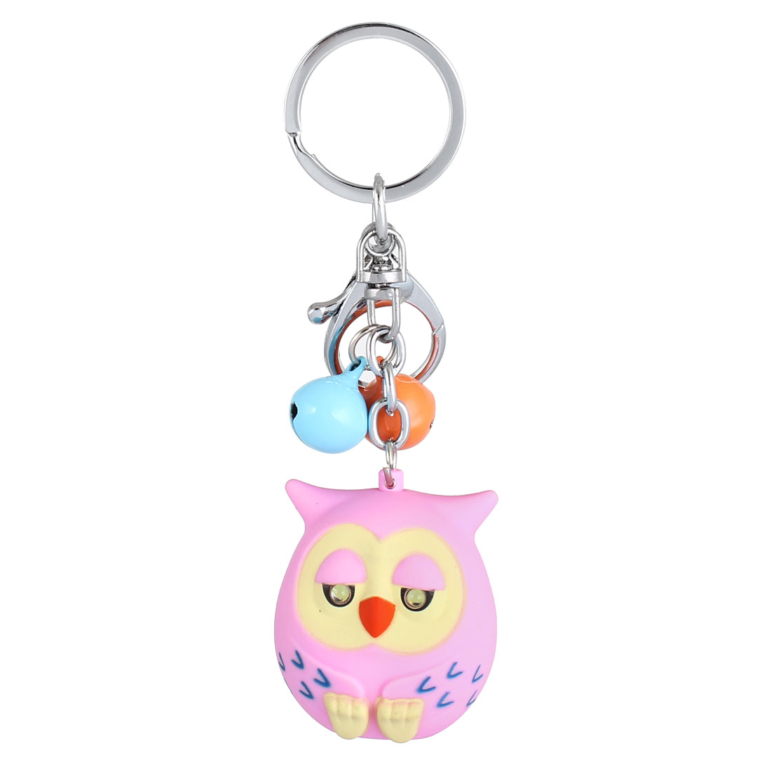 Lobster Clasp Bell Cartoon Bird Pendant Sound Light Keychain Keyring Key Holder Pink