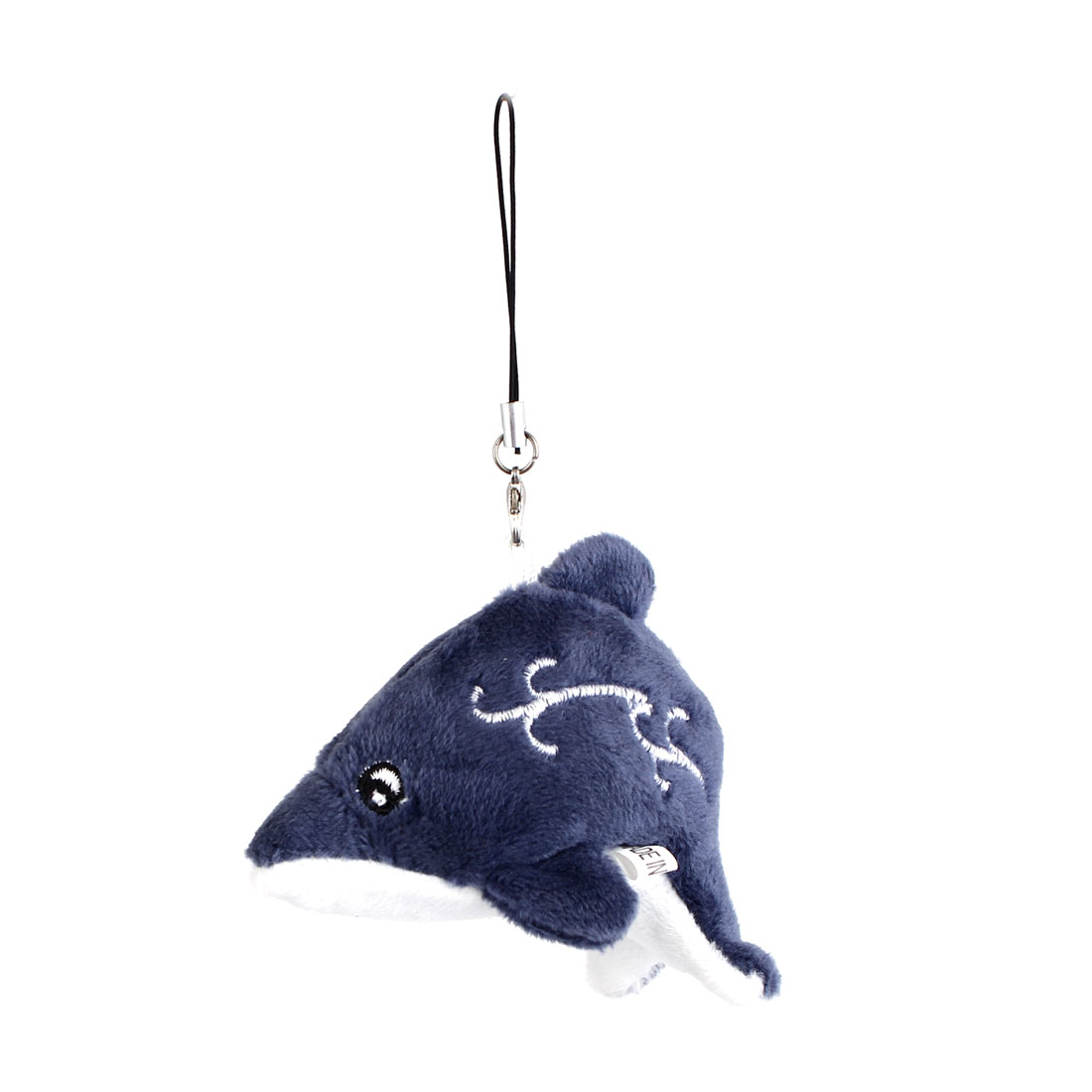 Dark Gray Plush Dolphin Doll Pendant Lobster Clasp Mobile Cell Phone Cord Strap